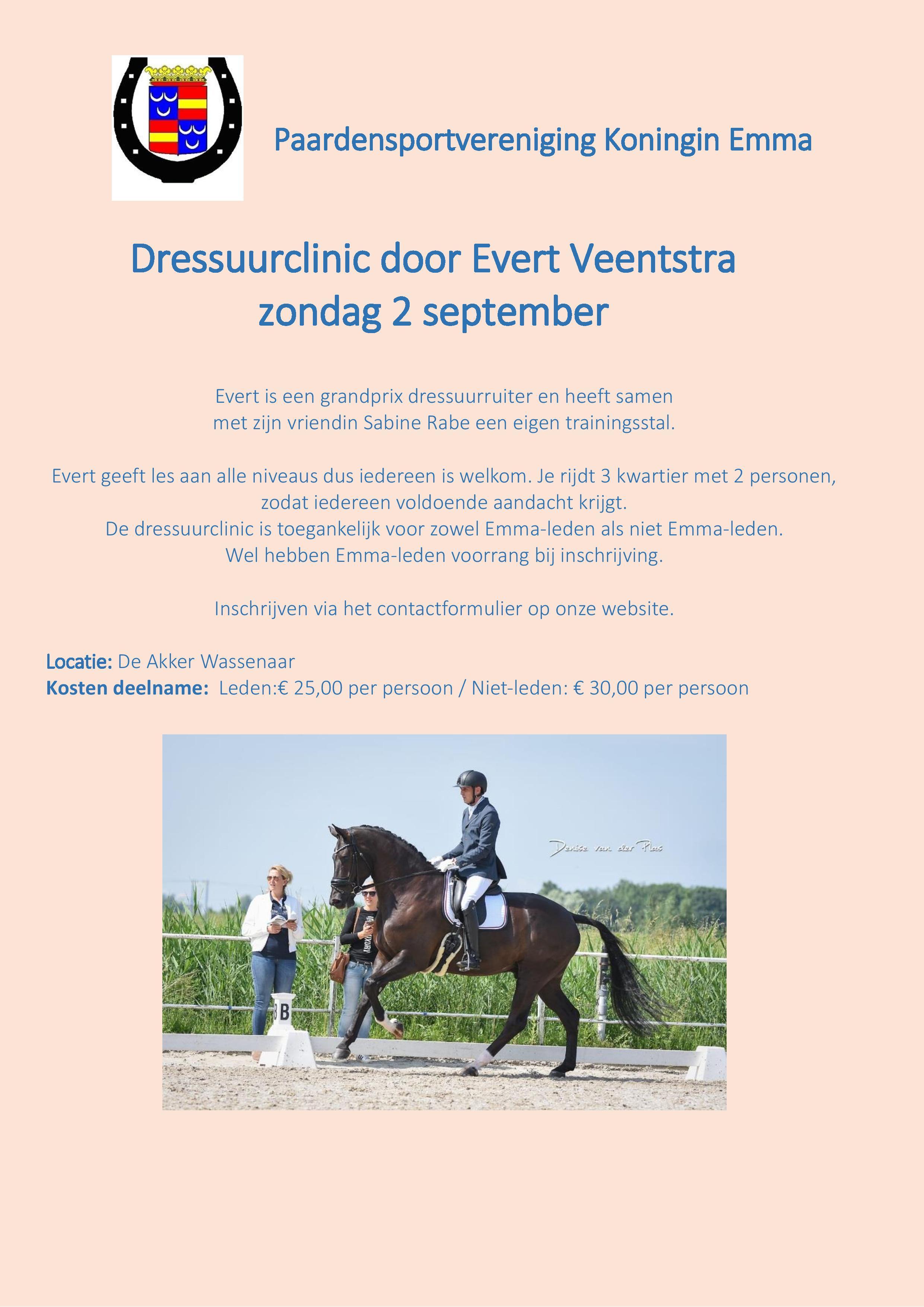 Zondag 2 september Dressuurclinic van Evert Veenstra