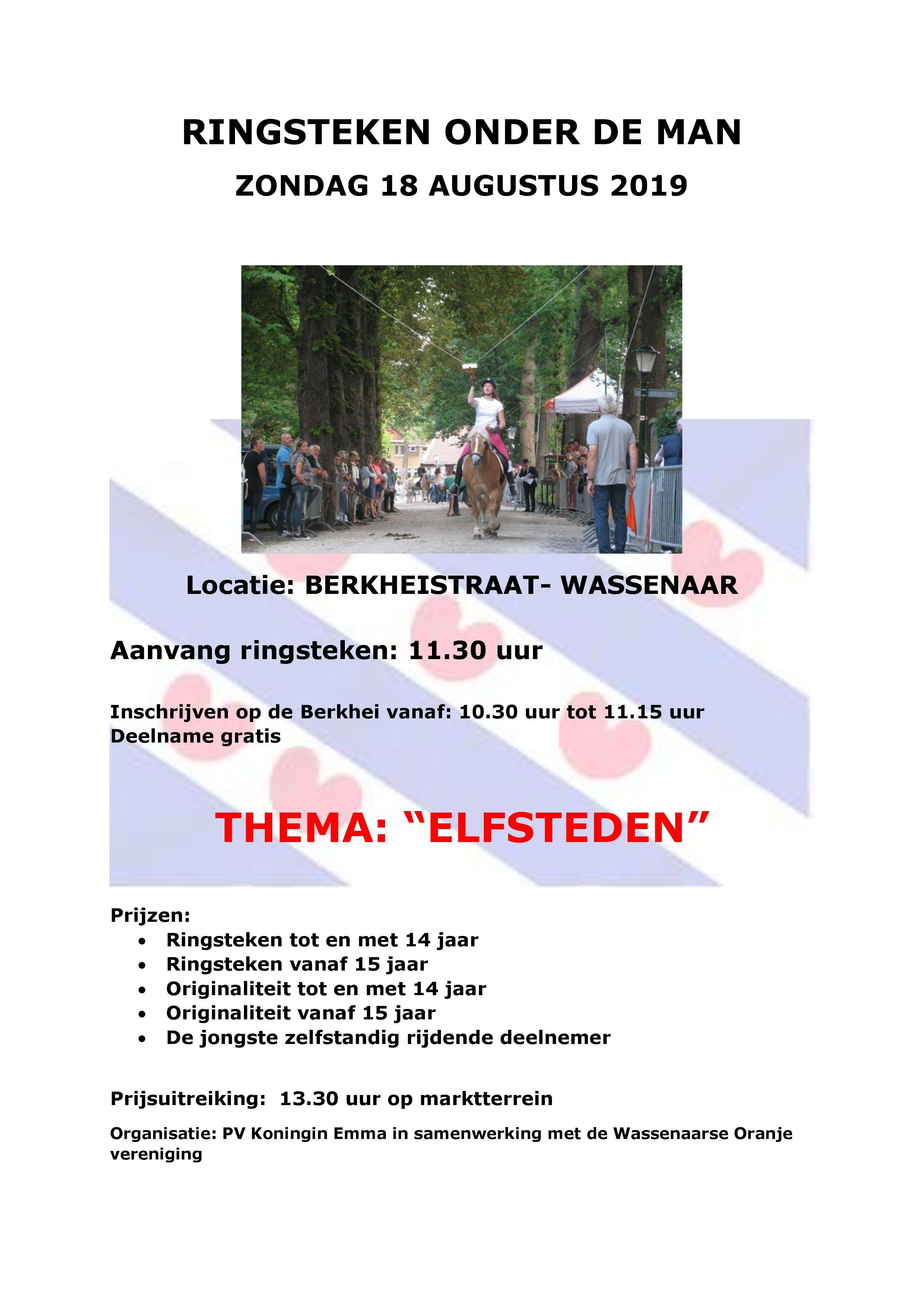 Ringsteken zondag 18 augustus in Wassenaar